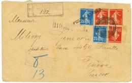 1918 Semeuse 10c (x3) + 25c (x2) Obl. POSTES SERBE + CENSURE MILITAIRE SERBE Sur Env. Pour GENEVE. TTB. - Army Postmarks (before 1900)