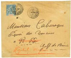 1894 GOLFE DE BENIN 15c Obl. CORRESPONDANCE MILITAIRE PORTO-NOVO BENIN Sur Env. Pour GRAND-POPO, Redirigée à L' HOPITAL  - Unclassified