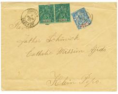"""1901 BENIN 5c (x2) Pd + 15c Obl. OUIDAH DAHOMEY Sur Enve. Pour """"CATHOLIC MISSION AJIDO"""", KLEIN POPO. Verso, GRAND-POPO D - Unclassified"""