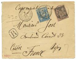 1901 Type SAGE De FRANCE 15c + 25c Obl. TRESOR ET POSTES AUX ARMEES CHINE 5 Sur Env (pd) RECOMMANDEE Pour La FRANCE. Rar - Non Classés