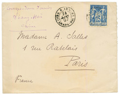 1897 FRANCE 15c SAGE Obl. CORR. D'ARMEES SHANG-HAI Sur Enveloppe Pour PARIS. TTB. - Non Classés