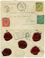 """GUINEE : 1901 5c + 50c + 1F Obl. CONAKRY Sur Env. CHARGEE + """"VD = 1500F"""" Pour PARIS. RARE. TTB. - Non Classés"""