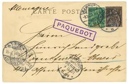 """1901 GUINEE 5c + 10c Obl. HAMBURG + PAQUEBOT + """"S.S MADEIRA"""" Sur Carte De CONAKRY Pour L' ALLEMAGNE. RARE. TTB. - Non Classés"""