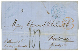 """""""TAXE 14 - PONDICHERY"""" : 1863 Grand Cachet Bleu BUREAU DE PONDICHERY + Rare Taxe 14 Sur Lettre Pour La FRANCE. TTB. - Non Classés"""