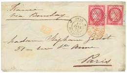 1875 GC 80c CERES (x2) + INDE PONDICHERY Sur Enveloppe (pd) Pour PARIS. Affrt Rare à 1F60. TB. - Non Classés