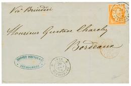 1876 CG 40c CERES Obl. INDE PONDICHERY Sur Lettre Pour BORDEAUX. TTB. - Non Classés