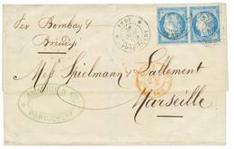 1879 CG Paire 25c CERES Obl. INDE PONDICHERY Sur Lettre Pour La FRANCE. Superbe. - Non Classés