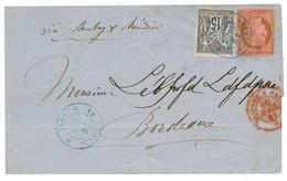 1881 CG 10c CERES + 15c SAGE Gris TTB Margé Obl. INDE PONDICHERY Sur Lettre Pour BORDEAUX. TB. - Non Classés
