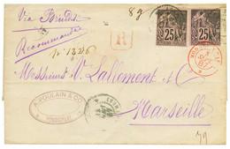 1887 CG 25c (x2) Sur Lettre RECOMMANDEE De PONDICHERY Pour MARSEILLE. TB. - Non Classés