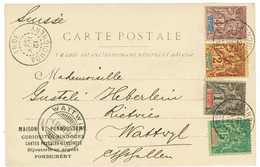1904 1c + 2c + 4c + 5c Obl. INDE PONDICHERY Sur Carte Pour La SUISSE. Superbe. - Non Classés