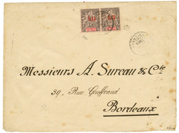 1904 0,15 S/ 25c (x2) Obl. INDE PONDICHERY Sur Enveloppe (double Port) Pour La FRANCE. Timbres Trés Rares Sur Lettre (co - Non Classés