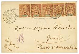 1905 2c Bande De 5 Obl. CHANDERNAGOR INDE Sur Carte Pour La SUISSE. RARE. Superbe. - Non Classés