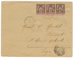 1895 FRANCE 25c SAGE Bande De 3 (1 Ex. Pd) Obl. MAJUNGA MADAGASCAR Sur Enveloppe Pour La FRANCE. TB. - Non Classés