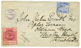 1895 MADAGASCAR POSTE ANGLAISE 4d (pli D' Angle) Obl. BRITISH ANTANANARIVO En Bleu + NATAL 2 1/2d Obl. DURBAN NATAL Sur  - Non Classés
