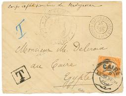 1895 EGYPTE Timbre-Taxe 2 Piatres Obl. CAIRE + CORPS EXPre MADAGASCAR L.V. N°4 Sur Enveloppe De Militaire Pour L' EGYPTE - Non Classés