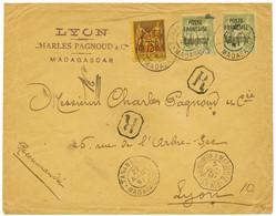 1897 75c + 1F (x2) Surchargés POSTE FRANCAISE MADAGASCAR Obl. TANANARIVE MADAGASCAR Sur Enveloppe RECOMMANDEE Pour La FR - Non Classés