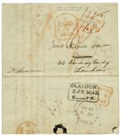 """""""ST MARTIN"""" : 1843 GLASGOW + PAID Sur Lettre Avec Texte Daté """"FRENCH MARTIN"""" Pour GLASGOW Redirigé à LONDRES. Verso, Tra - Non Classés"""