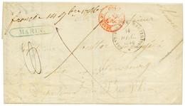"""""""MARIN"""" : 1846 Trés Rare Cachet Encadré MARIN En Bleu + """"FRANCHE 14 9bre 1846"""" Manus. Sur Lettre Pour La FRANCE. Quelque - Non Classés"""