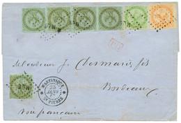MARTINIQUE : 1867 AIGLE 1c (x5) + 5c + 40c Obl. MQE + MARTINIQUE ST PIERRE Sur Lettre Pour BORDEAUX. Combinaison Excepti - Non Classés