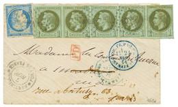 MARTINIQUE : 1871 CG Bande De 5 Du 1c (1 Ex. Pli) + 20c CERES Obl. MQE Sur Lettre Au Tarif Militaire De FORT DE FRANCE P - Non Classés