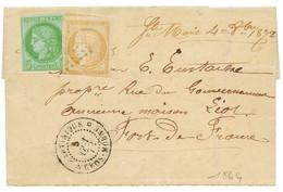 """""""Marque Manuscrite STE MARIE"""" : 1872 CG CERES 5c + 15c Obl. MQE + Marque Manuscrite """"STE MARIE 4 Oct 72"""" + MARTINIQUE GR - Non Classés"""