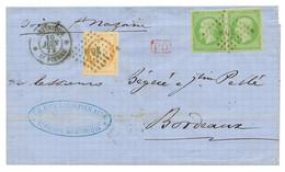 1872 Superbe Paire Du 5c EMPIRE CG (n°8) + 40c CERES Obl. MQE + MARTINIQUE ST PIERRE Sur Lettre Pour La FRANCE. RARE. TT - Non Classés