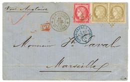 1874 CG 80c CERES TTB Margé + Paire 30c CERES Obl. MQE + MARTINIQUE ST PIERRE Sur Lettre En Double PORT Pour La FRANCE.  - Non Classés