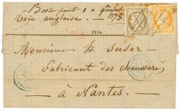 """Marque Manuscrite BASSE POINTE"" : 1875 CG CERES 30c + 40c(pd) Obl. Plume + MQE + Marque Manuscrite ""BASSE POINTE 10 Fev - Non Classés"