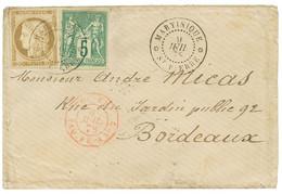 1878 CG 30c CERES + 5c SAGE TTB Margés Obl. MARTINIQUE ST PIERRE Sur Env. Pour BORDEAUX. Affrt à 35c. TTB. - Non Classés