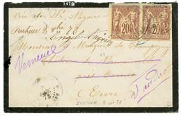 """""""Marque Manuscrite PRECHEUR"""" : 1878 CG SAGE Paire 20c TB Margée + Marque Manuscrite """"PRECHEUR 8 Oct 78"""" Sur Lettre Pour  - Non Classés"""