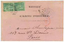 1882 CG 5c (x2) Obl. Sur CARTE PRECURSEUR De FORT DE FRANCE Pour PARIS. Jaunie Au Verso. TB. - Non Classés