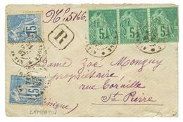 """""""LAMENTIN"""" : 1887 CG 5c(x3) Pd + 15c(x2) Obl. MARTINIQUE LAMENTIN Sur Env. RECOMMANDEE. RARE. TTB. - Non Classés"""