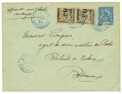 1894 Entier 15c + Paire 05c S/ 5c TAXE (n°19) Obl. FORT DE FRANCE Pour BORDEAUX. Rare. TTB. - Non Classés