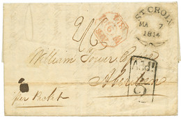 DANISH WEST INDIES : 1814 ST CROIX Fleuron On Entire Letter To ABERDEN (SCOTLAND). Very Few Covers Kwown. GREAT RARITY O - Danemark (Antilles)