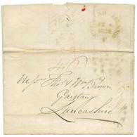 """LEEWARD ISLAND - FALMOUTH PACKET"" : 1828 Green Cachet LEEWARD ISLAND/F. On Entire Letter Datelined ""ST THOMAS"" To ENGLA - Danemark (Antilles)"
