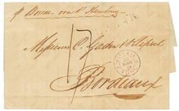 """ST THOMAS Via HAMBURG & HOLLAND To FRANCE"" : 1839 Entry Mark PAYS-BAS 2 VALnes 2 + ""17"" Tax Marking On Entire Letter Fr - Danemark (Antilles)"