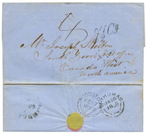 """1859 """"7 1/2c"""" Tax Marking On Entire Letter From ST THOMAS To SOUTH BORRO CANADA. Verso, ST THOMAS + WOODSTOCK U.C. Vvf. - Danemark (Antilles)"""