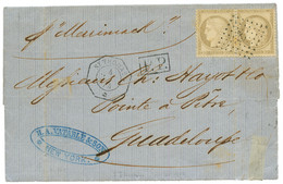 ST THOMAS - French Consular Mail : 1874 FRANCE 30c (x2) Canc. ANCHOR + ST THOMAS On Entire Letter From NEW YORK (USA) To - Danemark (Antilles)