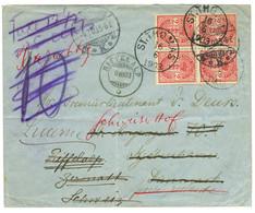 1903 2c Bloc Of 4 Canc. ST THOMAS On Envelope To DENMARK Redirected To SWITZERLAND. Vvf. - Danemark (Antilles)
