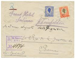 1907 25B + 40B On REGISTERED Envelope From ST THOMAS To SWITZERLAND. Vf. - Danemark (Antilles)