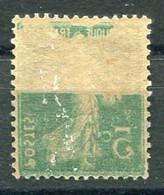 RC 20314 FRANCE N° 137 TYPE SEMEUSE 5c VERT RECTO VERSO PARTIEL NEUF * MH B/TB  ( VOIR DESCRIPTION ) - 1906-38 Sower - Cameo