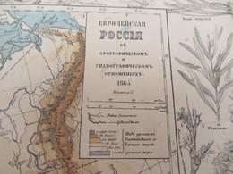 Carte Géographique Ancienne/Russie /Physique Et Hydrographique/Avec Bordure De Faune Et De Flore/1865  PGC376 - Slav Languages