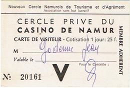 Cercle Privé Du Casino De Namur. Carte De Visiteur. - Toegangskaarten