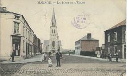 MANAGE : La Place De L'Eglise - Cachet De La Poste 1918 - Manage