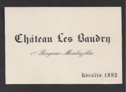 Etiquette De Vin  -   Chateau Les Baudry  -  1 Er Bergerac Montbazillac  - 1892  -  Monestier (24) - Sin Clasificación