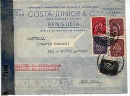 From Benguela Angola  To New York USA , 1944 ,  Allied Censor 7198  Label , Costa Junior  Envelope - WW2 (II Guerra Mundial)
