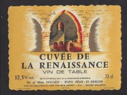 Etiquette De Vin De Table -  Restaurant  La Renaissance Mr Et Mme Douard à Pont Péan  (35 )-  Ets Pérot à Mauron (56) - Sin Clasificación
