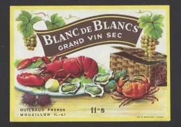 Etiquette De Vin De Table Blanc De Blancs    - Thème Fruits De Mer  -  Guilbaud à Mouzillon  (44) - Sin Clasificación