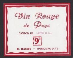 Etiquette De Vin Rouge De Pays Du Canton De Seyches  (47)   -  R. Dauby  à  Magnac Laval  (87) - Sin Clasificación