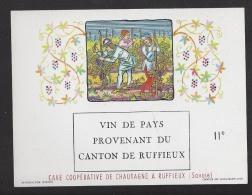 Etiquette De Vin De Pays Provenant Du Canton De Ruffieux (73)  - Cave Coop. De Chautagne  -  Thème Travail De La Vigne - Sin Clasificación